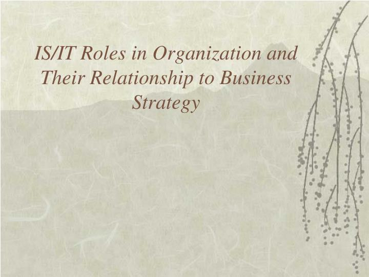 is it roles in organization and their relationship to business strategy n.