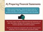 a preparing financial statements