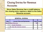 closing entries for revenue accounts