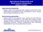 agricultural productivity and rural income generation define targets