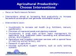 agricultural productivity choose interventions