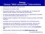 energy choose mdg compatible interventions