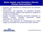 water supply and sanitation rural choose interventions