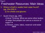 freshwater resources main ideas