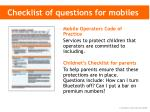 checklist of questions for mobiles