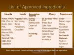 list of approved ingredients