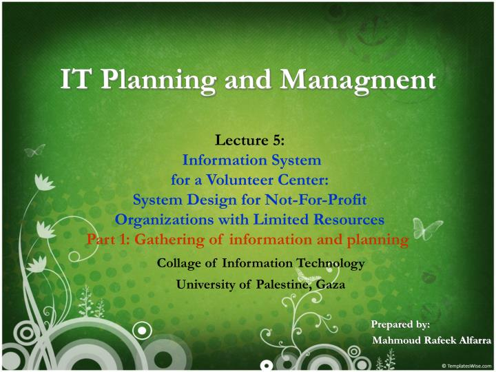 it planning and managment n.