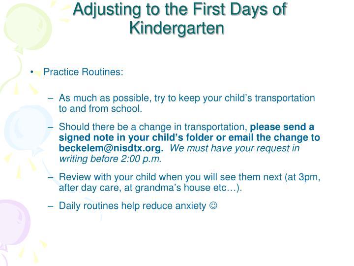 Adjusting to the first days of kindergarten1