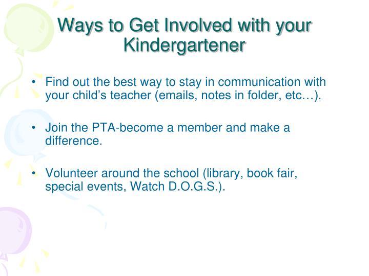 Ways to Get Involved with your Kindergartener