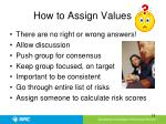 how to assign values