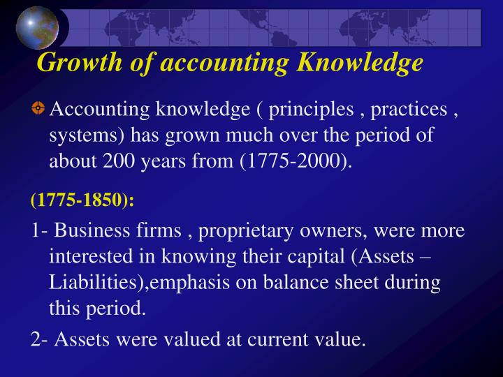 growth of accounting knowledge n.