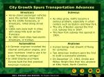 city growth spurs transportation advances