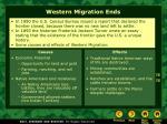 western migration ends