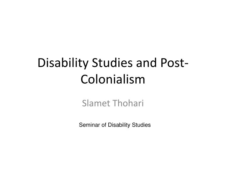 disability studies and post colonialism n.