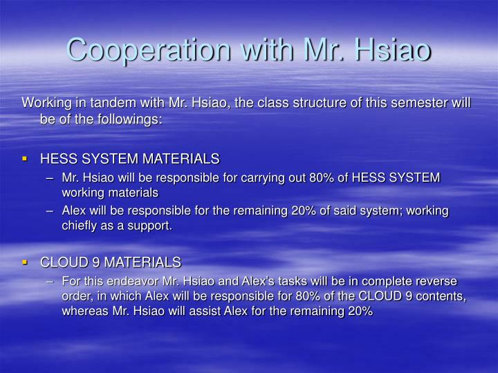 Cooperation with Mr. Hsiao