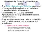 guidelines for eating right and active living