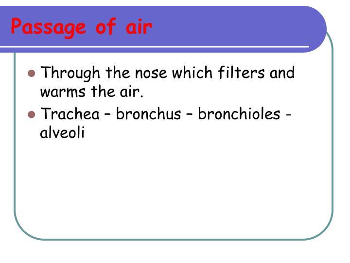 Passage of air