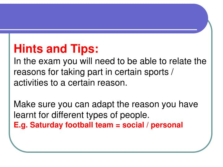 Hints and Tips: