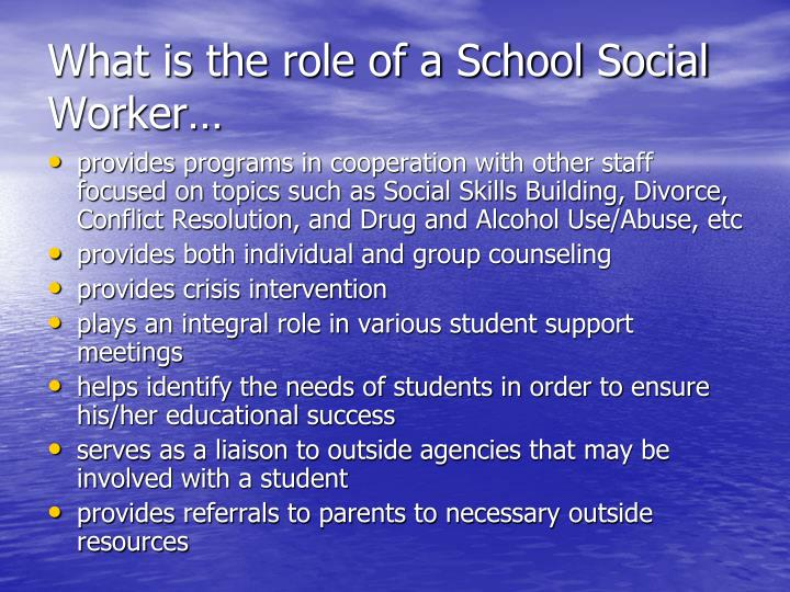 the role of a social worker Learn about what it takes to become a social worker what is a social worker and what do they do job duties, earning, and training requirements for social workers.