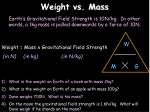 weight vs mass