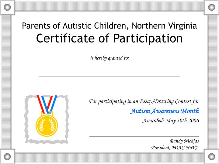parents of autistic children northern virginia certificate of participation n.
