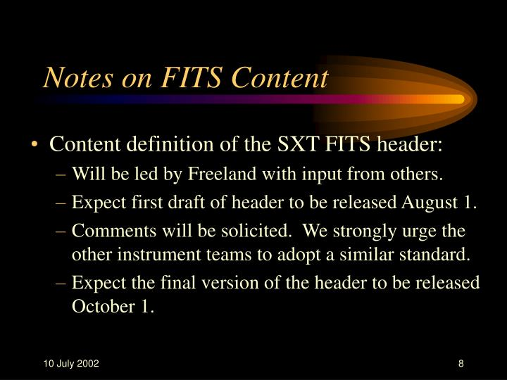Notes on FITS Content