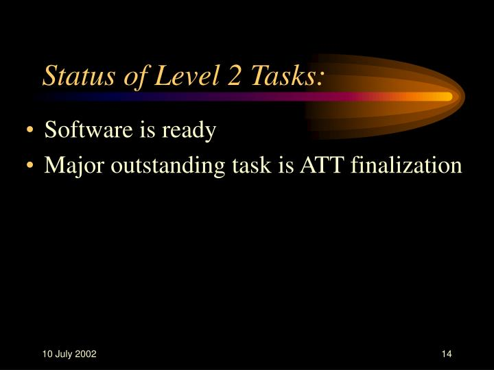 Status of Level 2 Tasks: