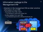 information leakage to the management vm
