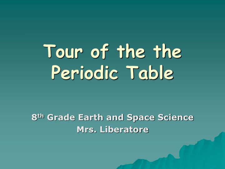 tour of the the periodic table n.