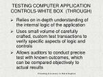 testing computer application controls white box through