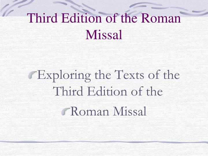 third edition of the roman missal n.