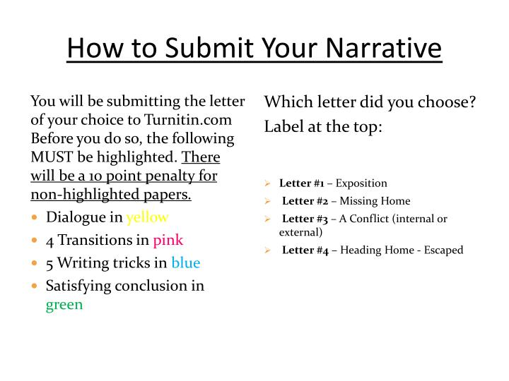 How to Submit Your Narrative