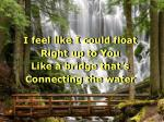 i feel like i could float right up to you like a bridge that s connecting the water