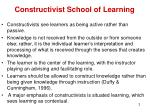 constructivist school of learning