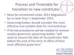 process and timetable for transition to new constitution