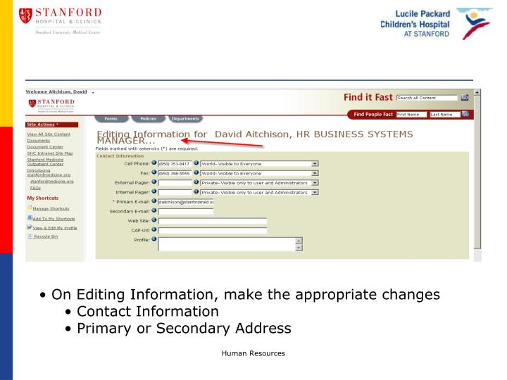 On Editing Information, make the appropriate changes