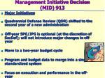 management initiative decision mid 913