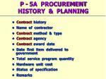 p 5a procurement history planning