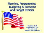 planning programming budgeting execution and budget exhibits