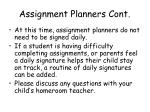 assignment planners cont