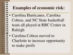 examples of economic risk