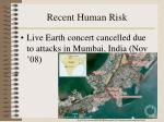 recent human risk