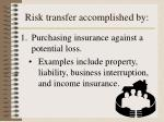 risk transfer accomplished by