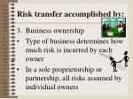 risk transfer accomplished by3