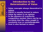introduction to the determination of value