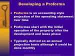 developing a proforma