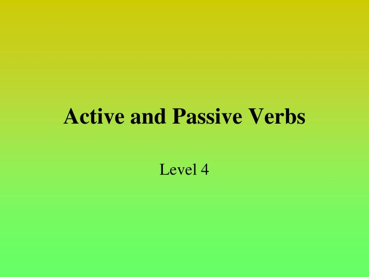 active and passive verbs n.