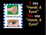 i say hands eyes you say hands eyes