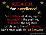 r e a c h for excellence with