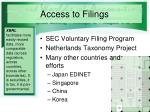 access to filings